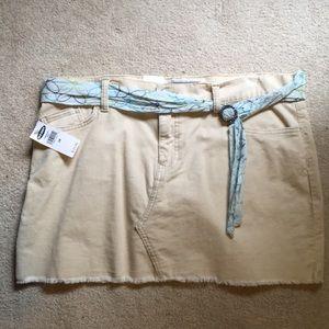 Corduroy beige mini skirt with belt